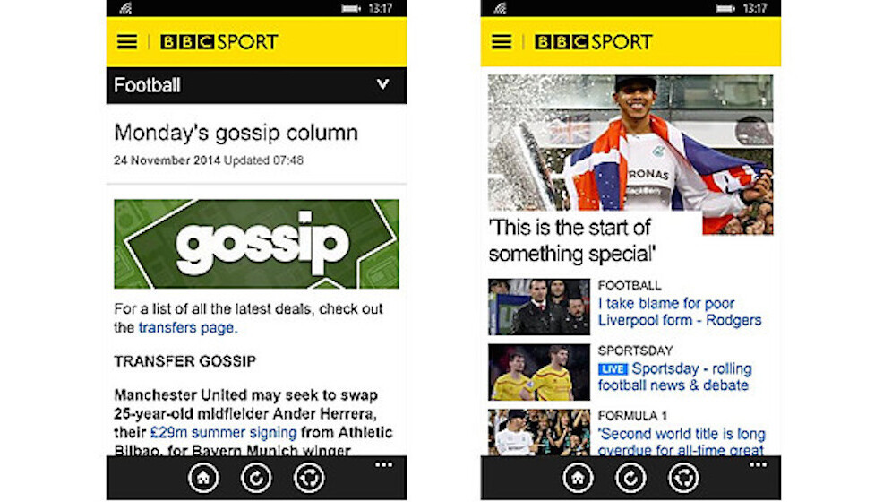 Windows Phone gets a BBC Sport app, but no sign of BBC News yet