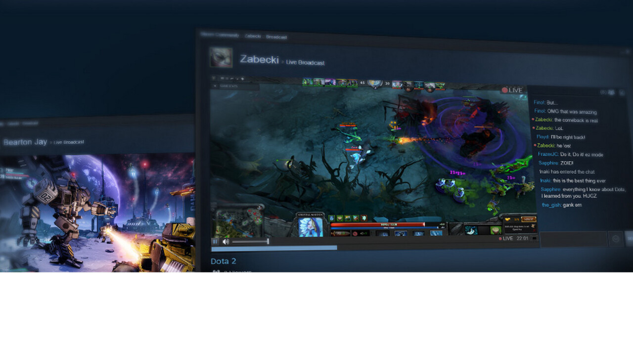 Steam unveils game live streaming to compete with Twitch