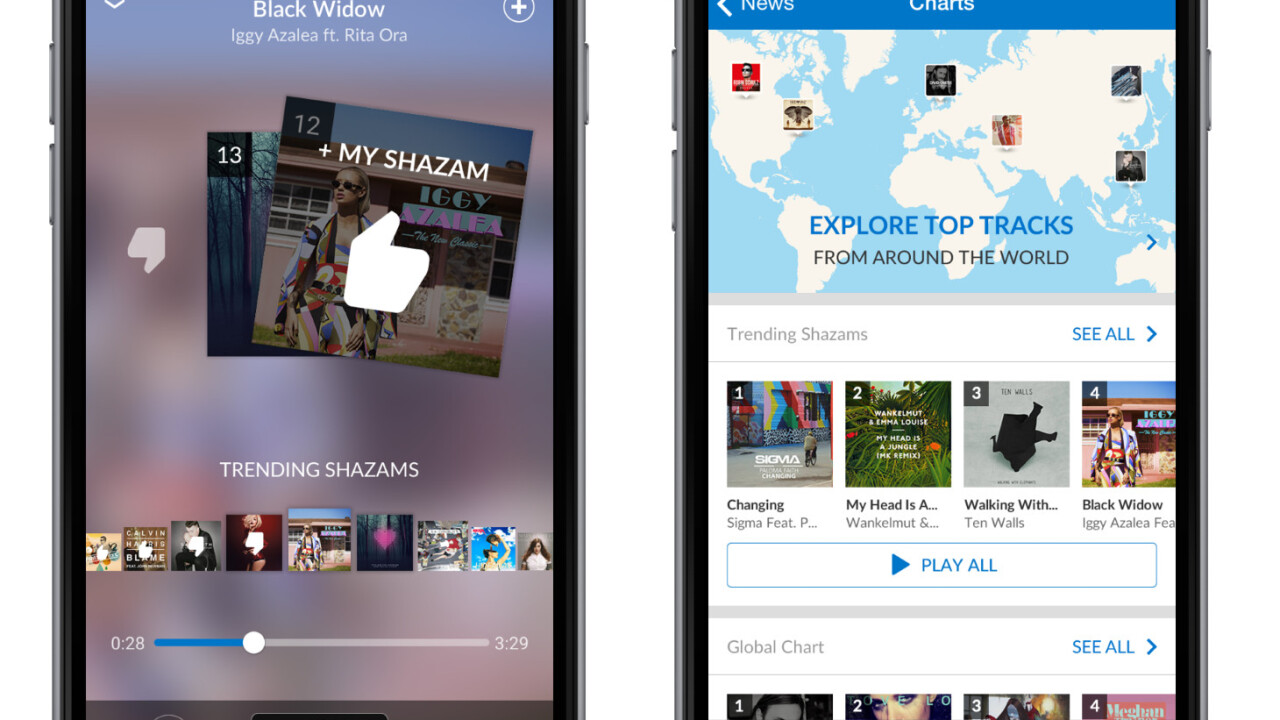 Shazam mobile update adds in-app music player, deeper Spotify integration and 'Shazam Counts'
