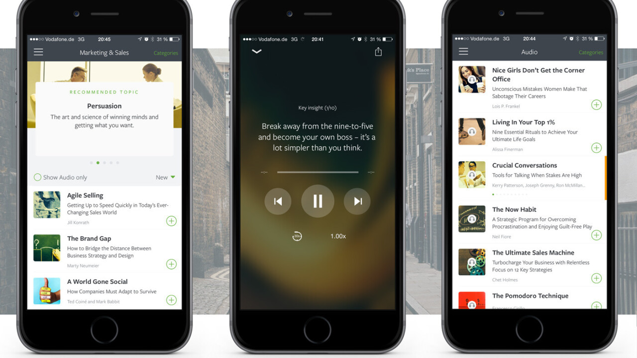 Blinkist's curated mobile reading platform now includes audio capabilities and one free book per day