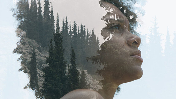 Dramatic double exposures that blend portraiture and nature photography
