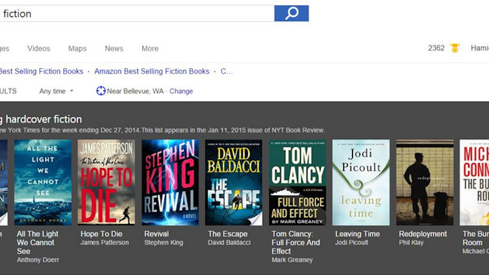 Bing adds New York Times best-sellers search to reveal great books