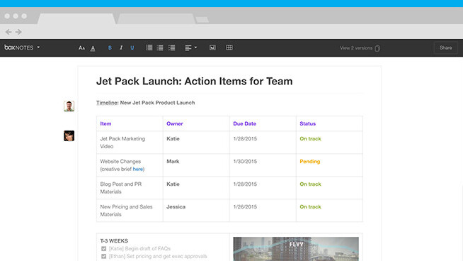 Box updates Notes with version history, tables and easier image insertion