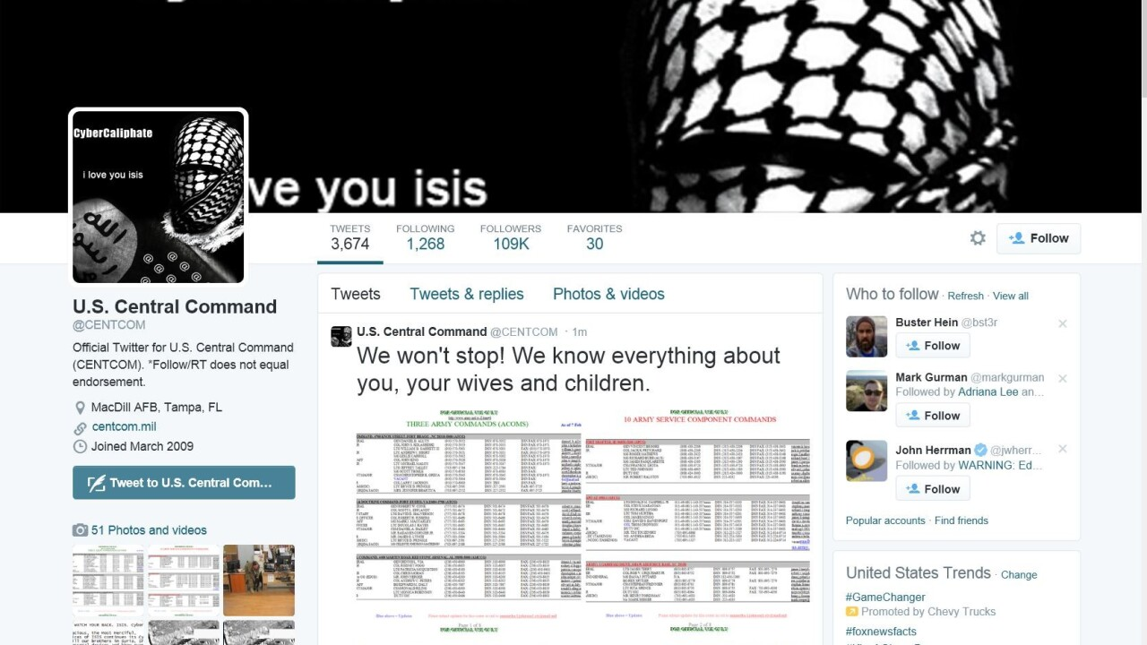 US Central Command's Twitter and YouTube accounts hacked to send threatening, pro-ISIS messages