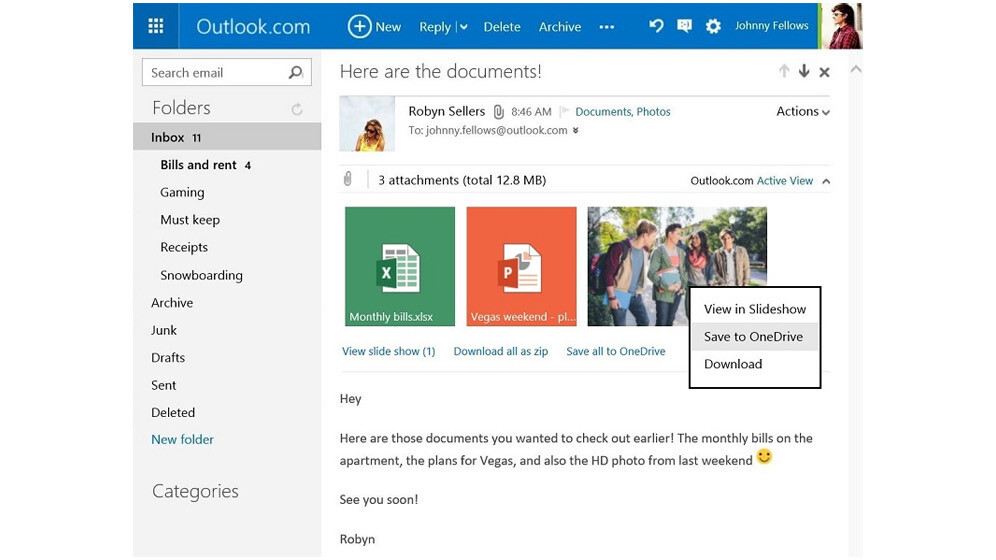 Outlook.com now lets you save attachments to OneDrive