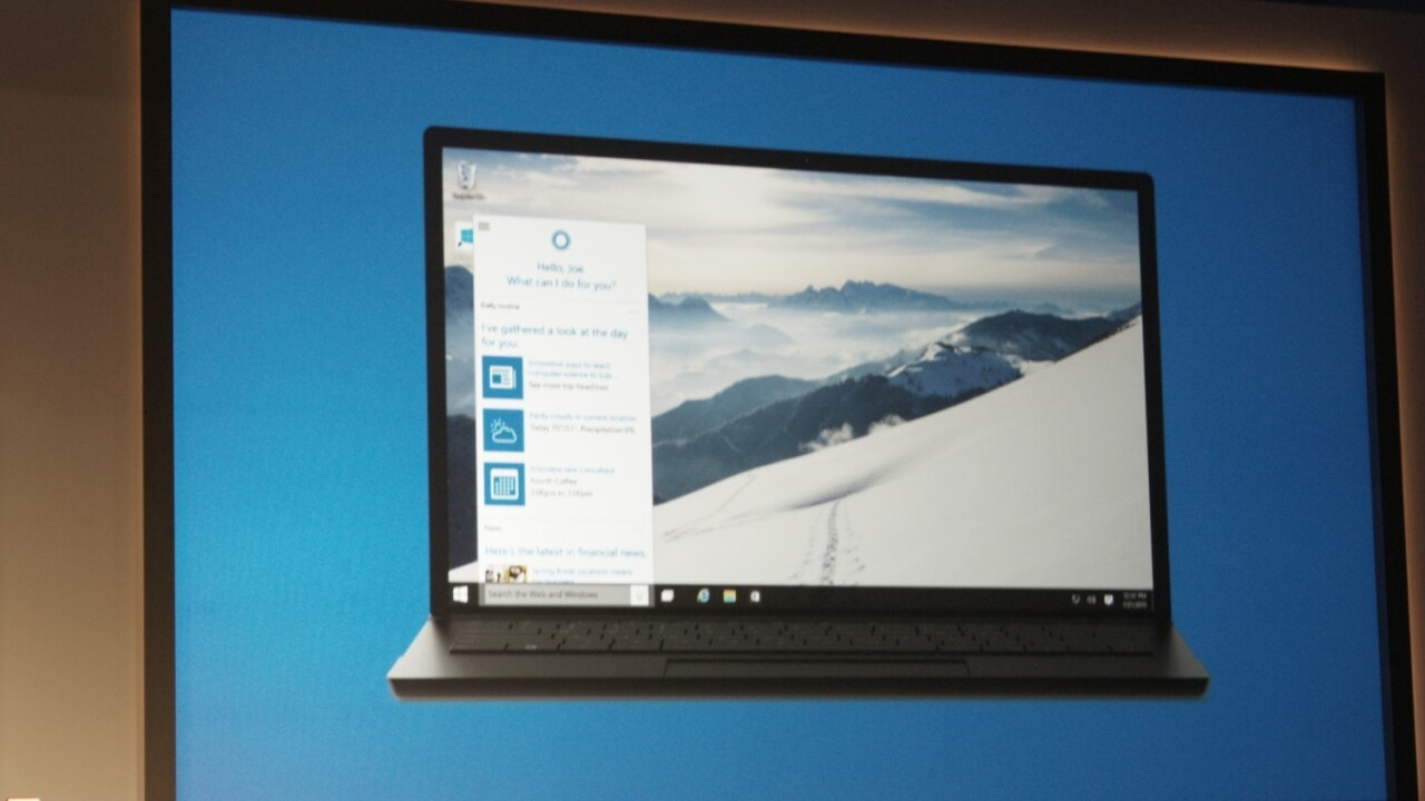 Microsoft's Cortana voice assistant comes to the PC with Windows 10