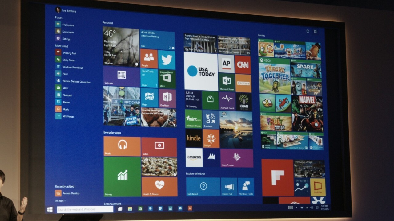This is Windows 10's new Start screen