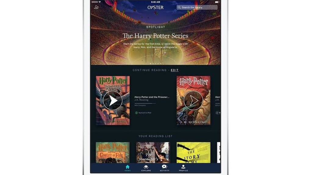 Oyster adds the complete 'Harry Potter' series to its ebook subscription service