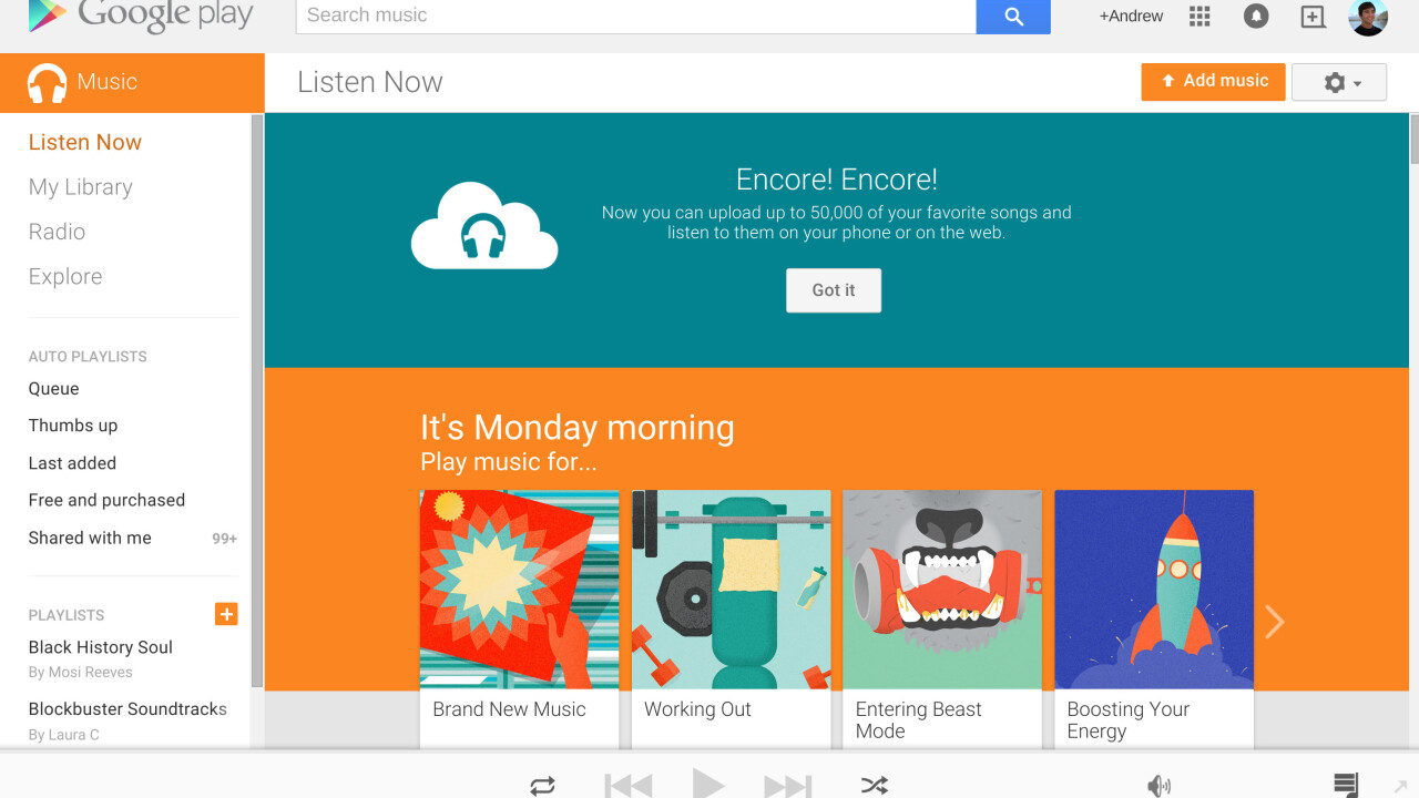 Google Play Music increases free personal cloud storage to 50,000 songs