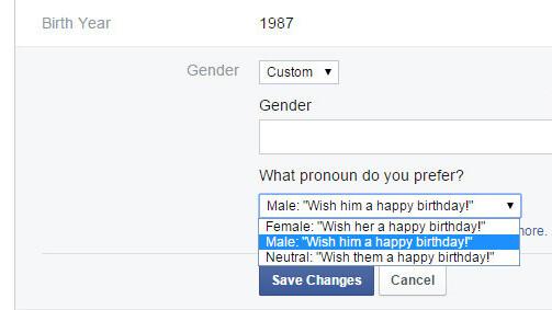 Facebook now allows custom gender options