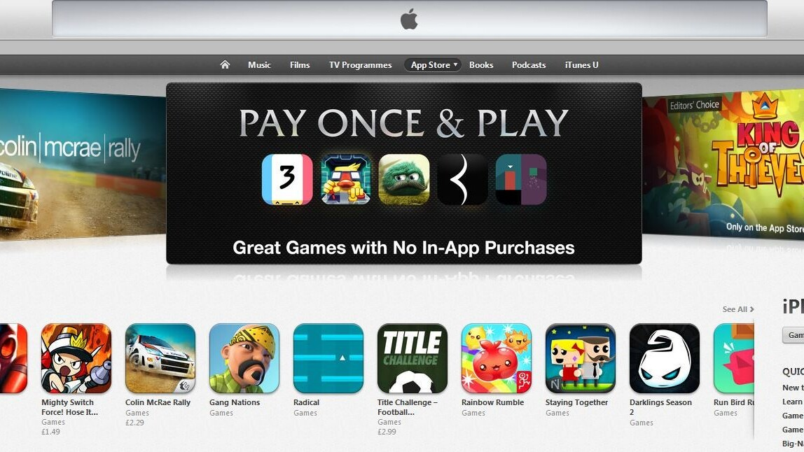 Apple is highlighting games without in-app purchases in the App Store