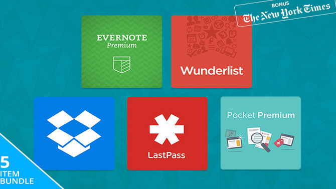 67% off The Five-Star Productivity Pack featuring Dropbox Pro, Evernote, LastPass, Pocket and Wunderlist