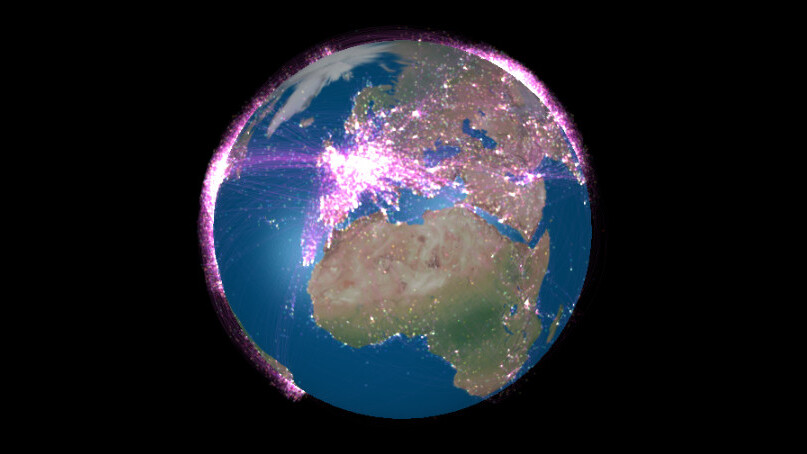 This visualization of the world's airline flight traffic is mesmerizing