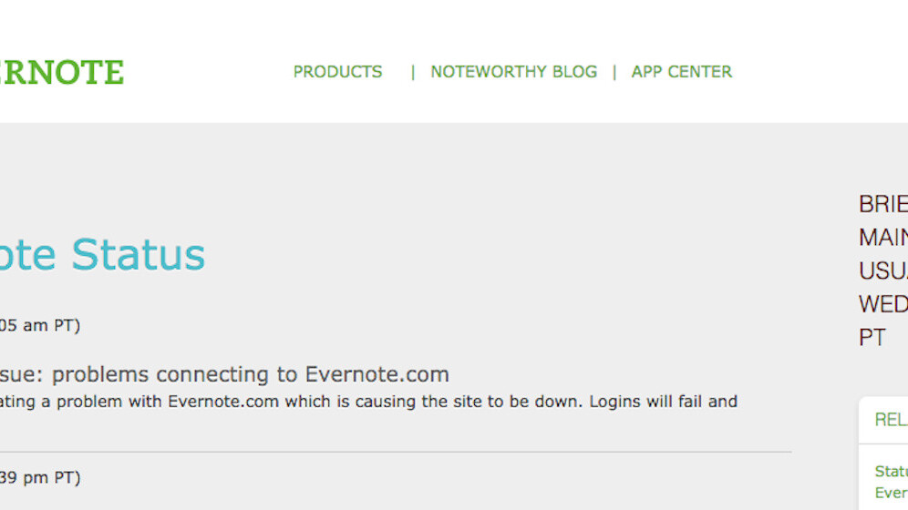 Evernote is down [update: it's back!]