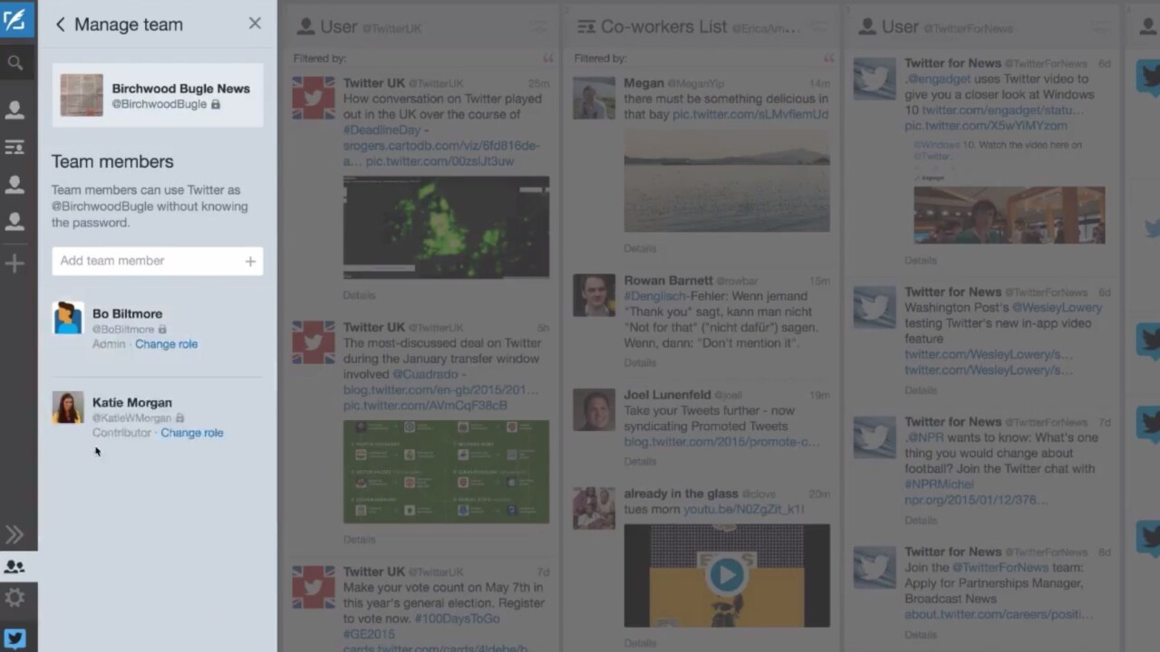 TweetDeck Teams let you share access to Twitter accounts without compromising passwords