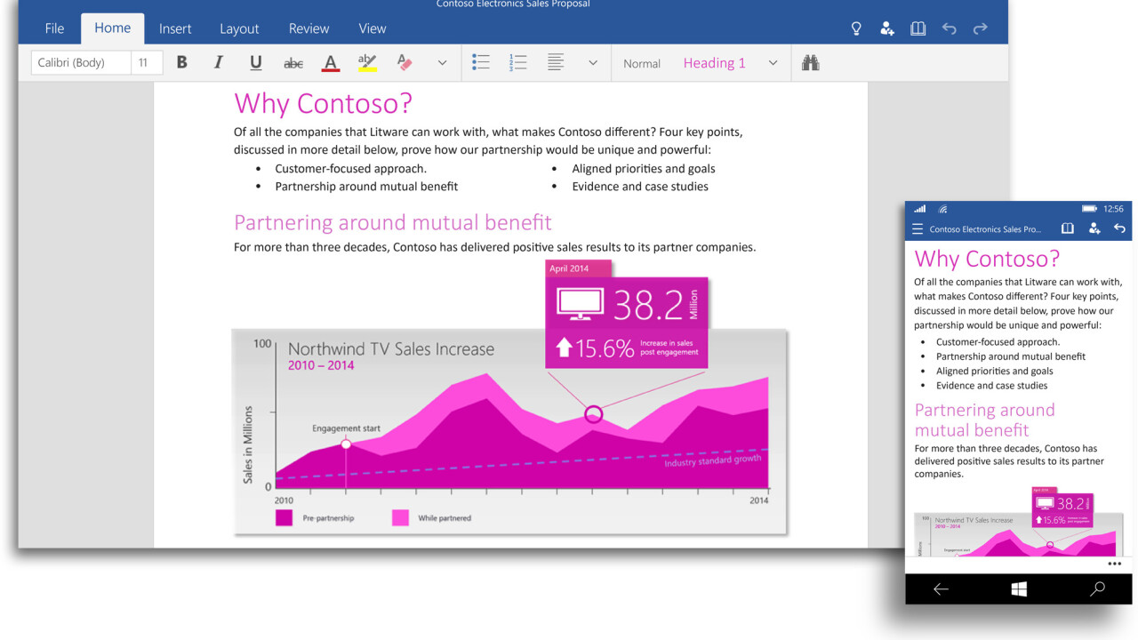 Universal versions of Microsoft Word, PowerPoint and Excel are now available on the Windows 10 Technical Preview