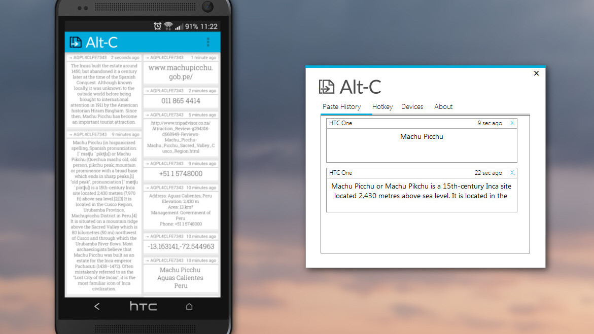 Alt-C is a simple app that lets you copy text between an Android device and your PC. That's it.