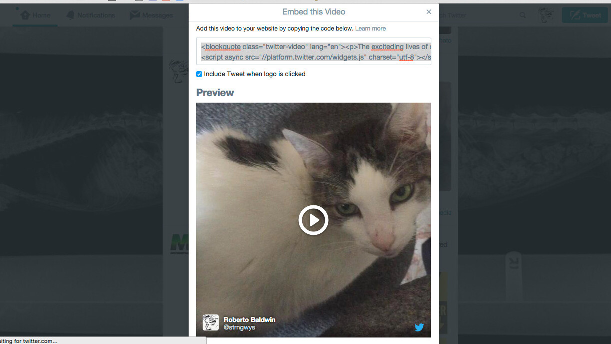 Twitter introduces video embeds for sites