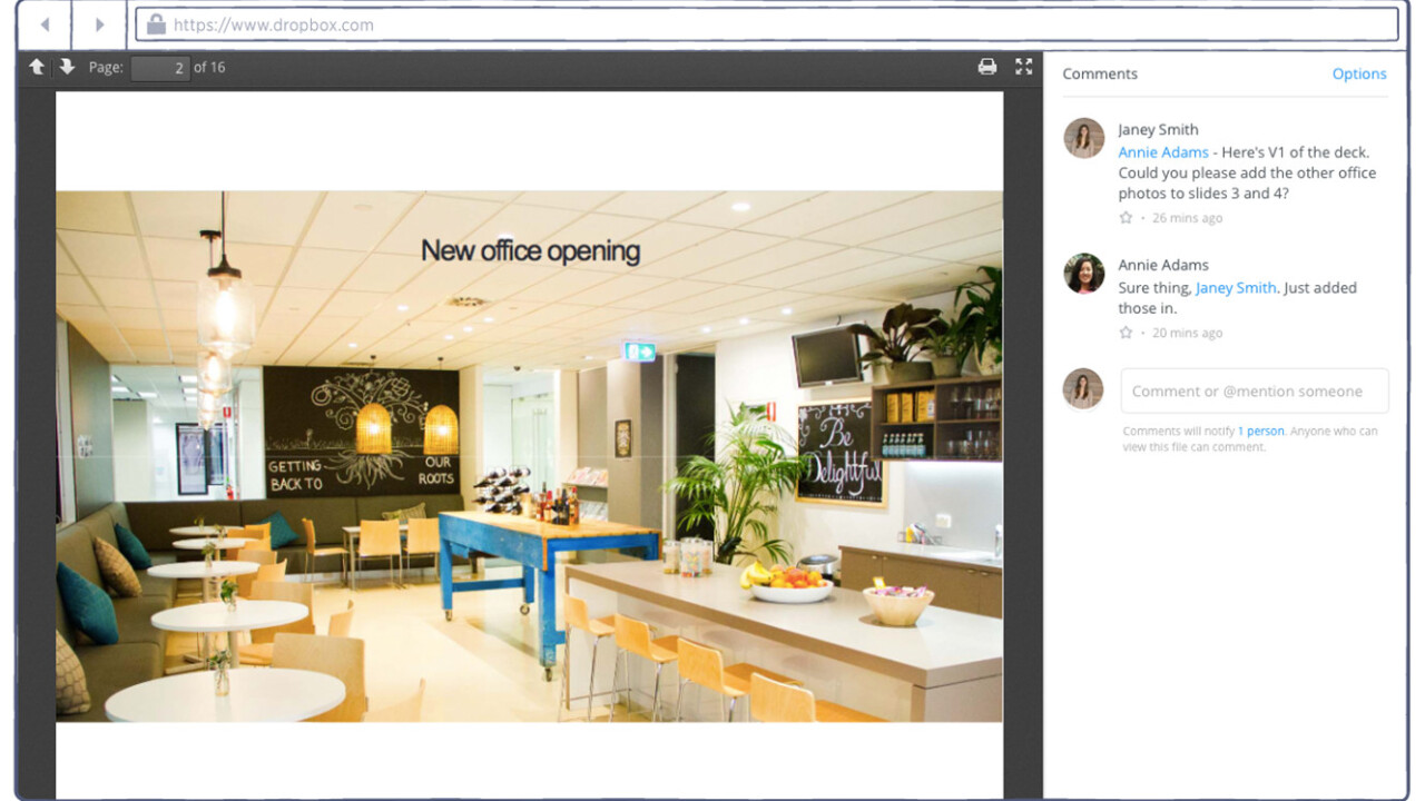 Dropbox expands in-app Office document editing to all business customers, launches commenting system