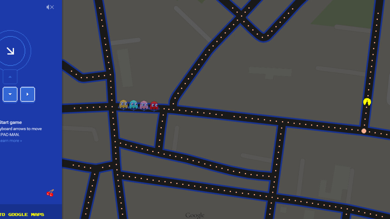 You can play Pac-Man inside Google Maps right now, both from desktop and mobile.