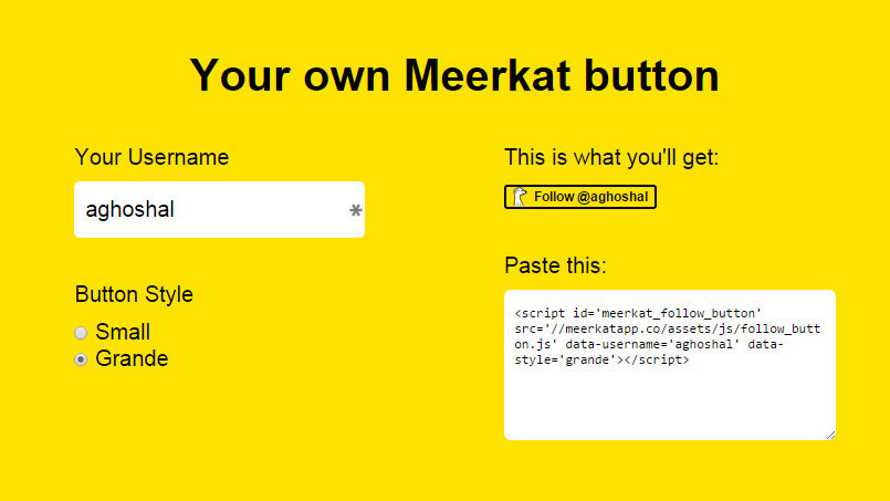 Here's how to add a 'Follow me on Meerkat' button to your site