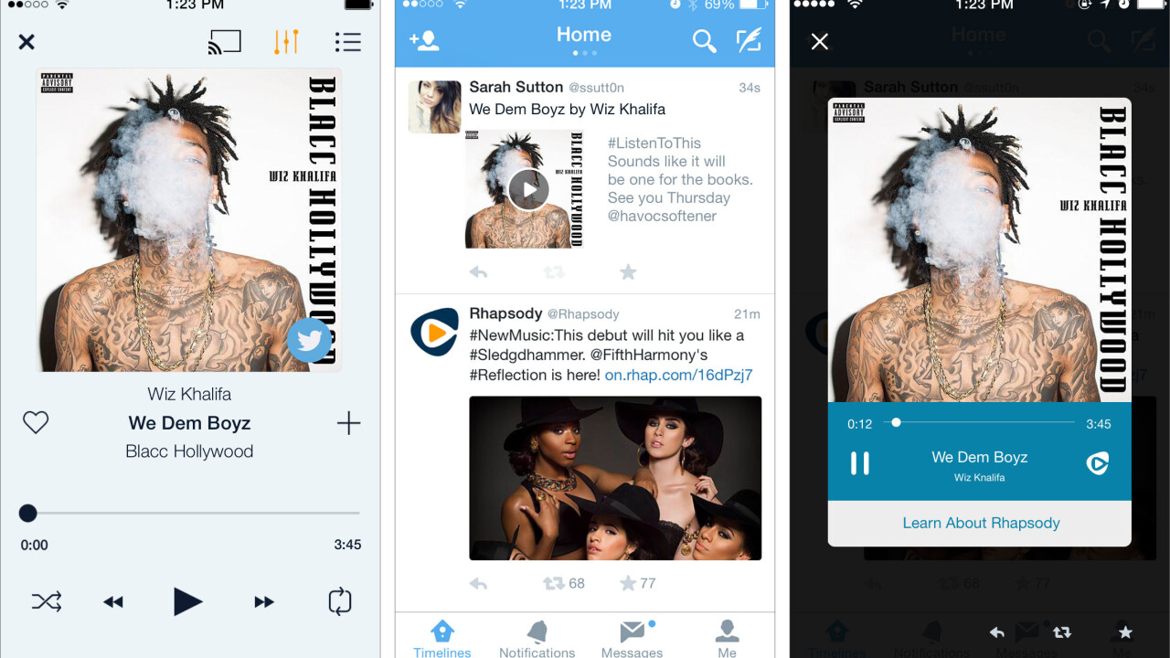 Rhapsody users can now share songs with anyone via Twitter