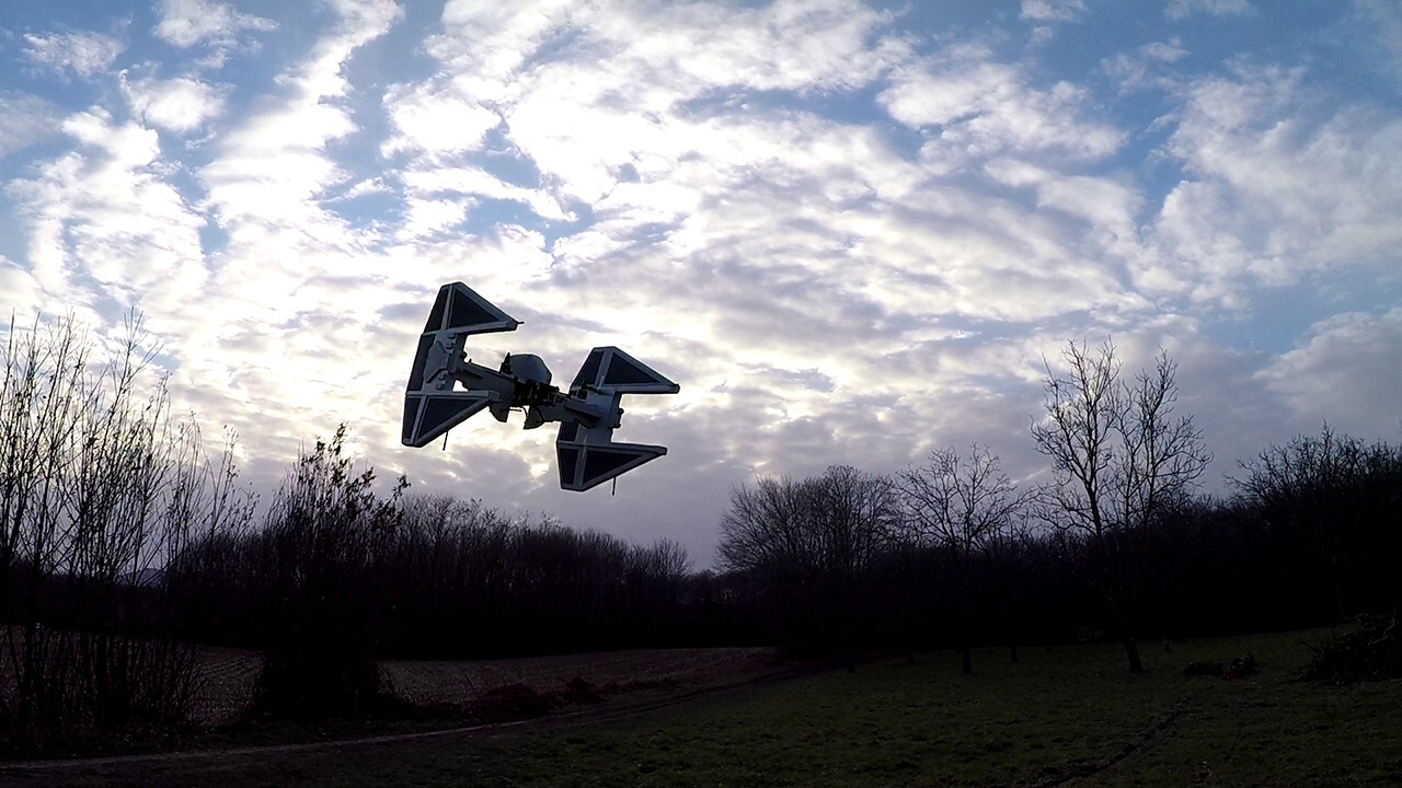 Watch this incredible TIE interceptor drone fly around, then build your own