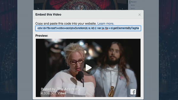Facebook introduces an embeddable video player