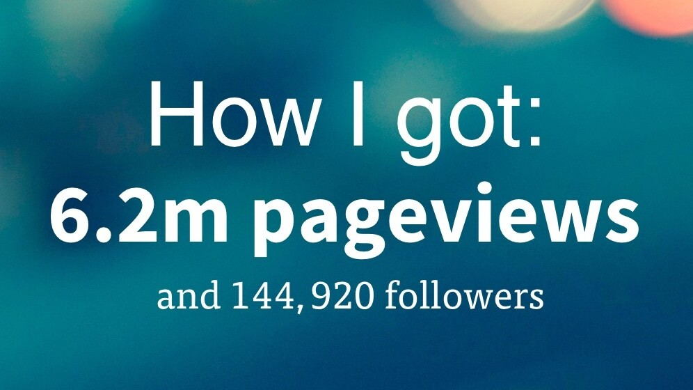 How I got 6.2 million pageviews and 144,920 followers