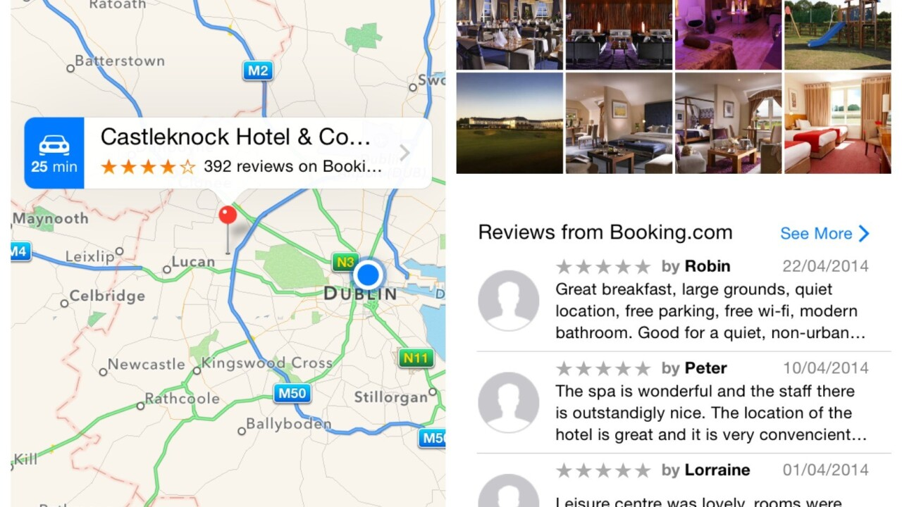 Apple Maps now offers hotel reviews from Booking.com and TripAdvisor