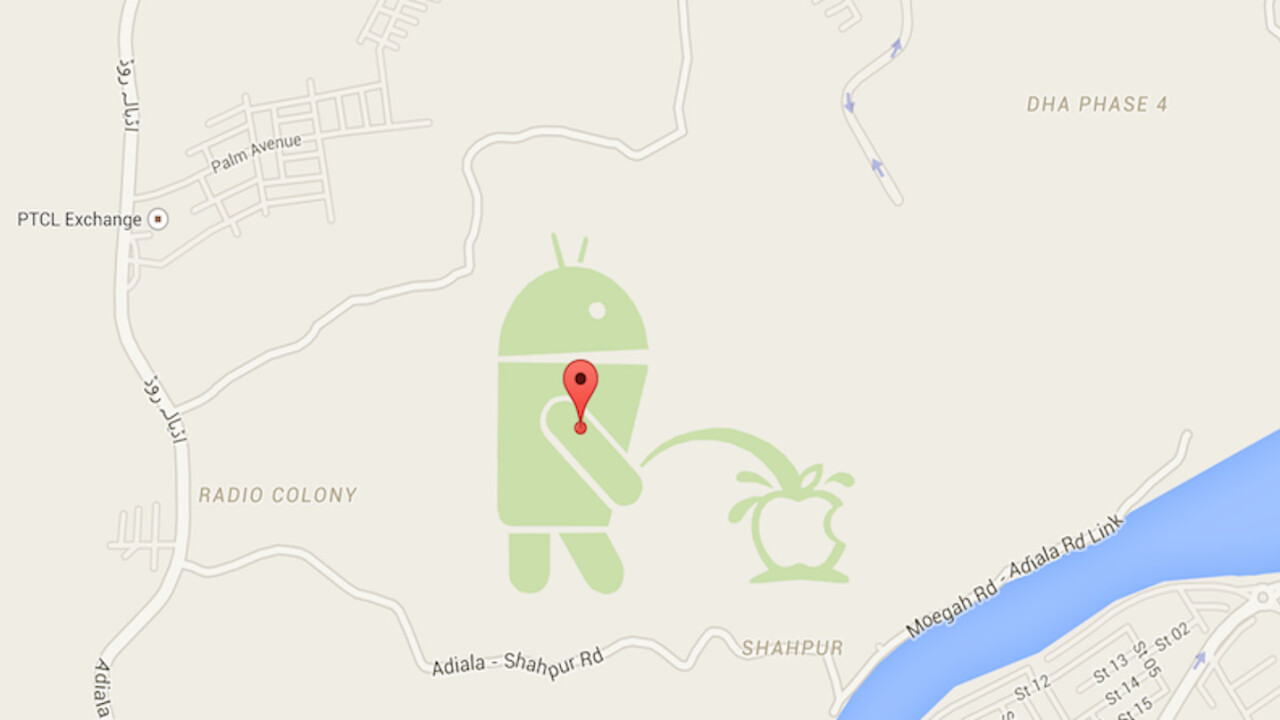 Google is sorry that a urinating Android logo appeared on Maps