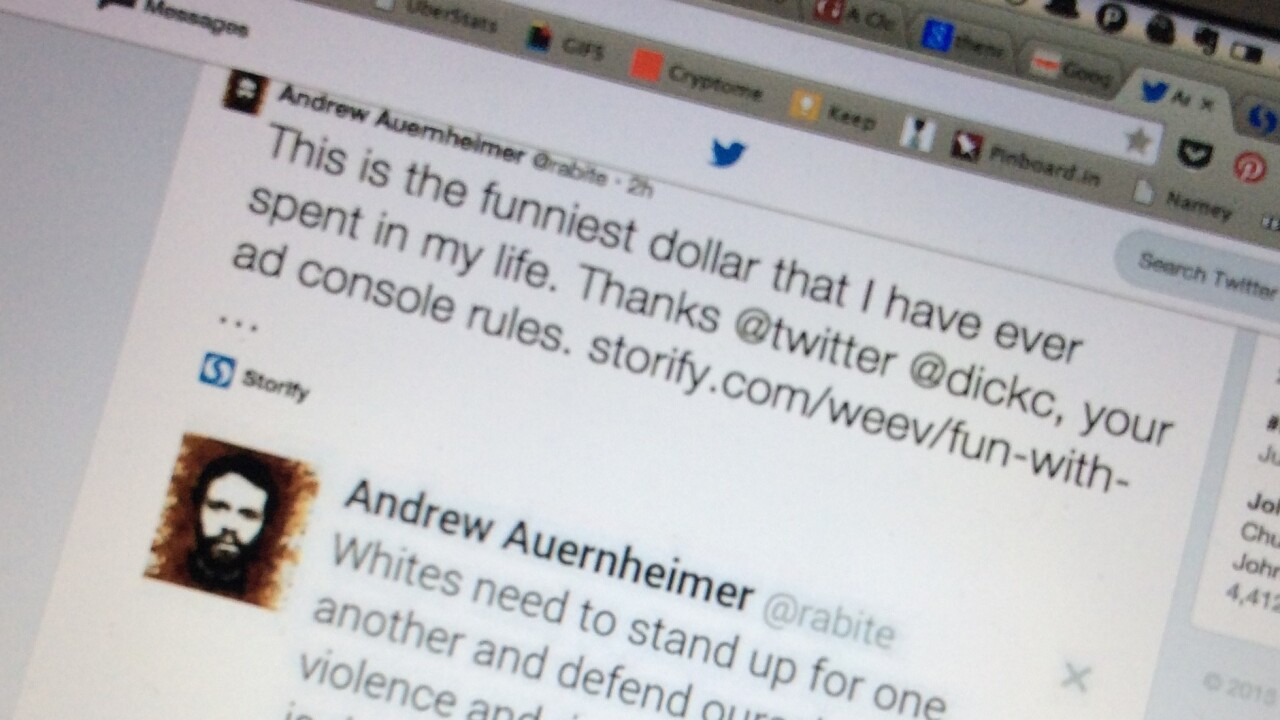 This notorious troll is gaming Twitter ads to promote white supremacism