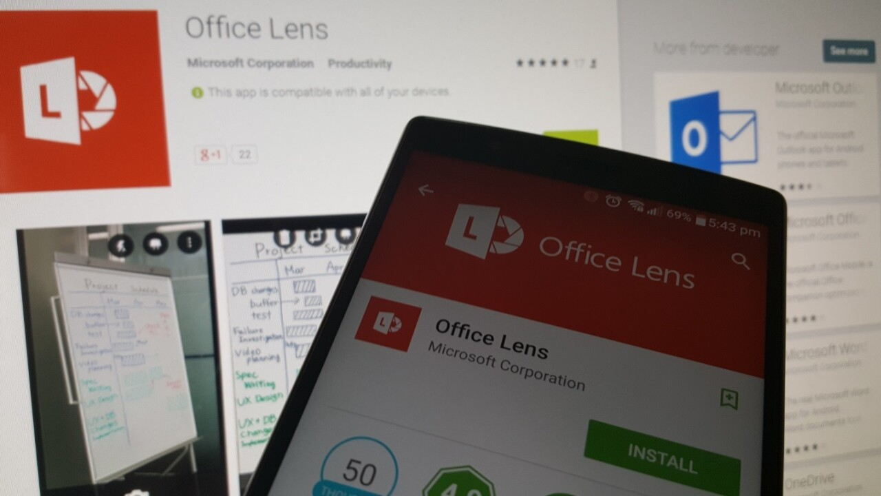 Microsoft's Office Lens scanner for Android exits preview, heads to Google Play Store