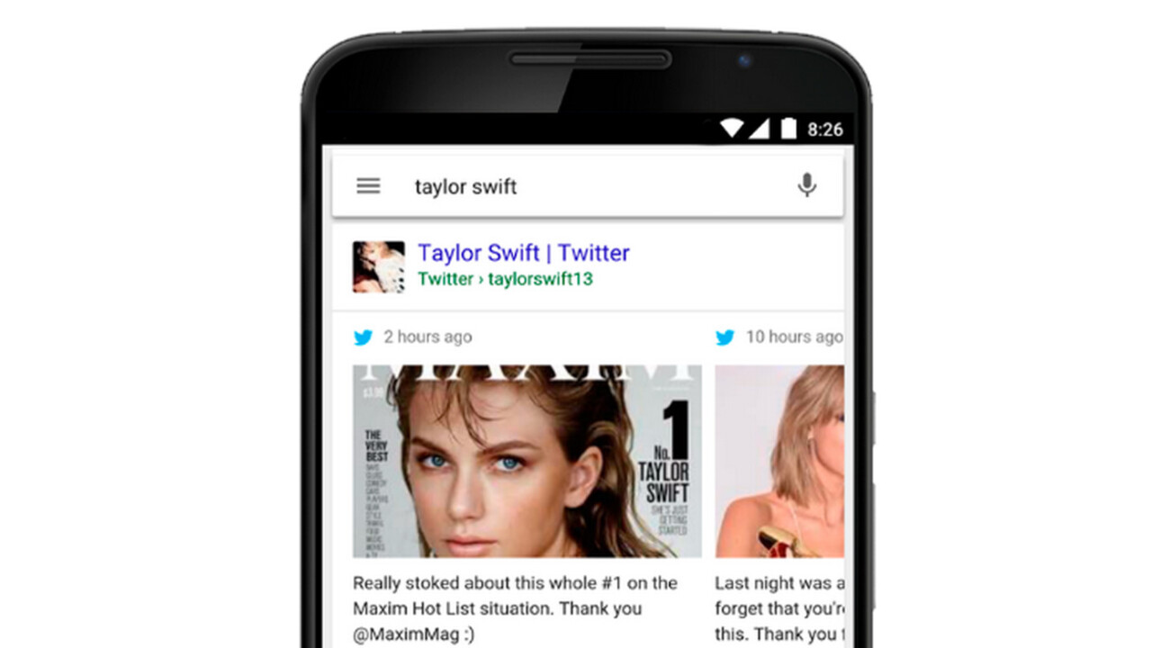 Google adds rich Twitter cards to mobile search results