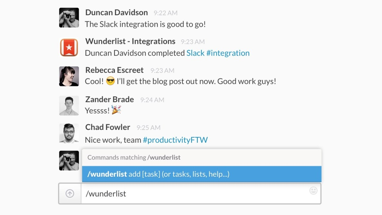 Wunderlist integrates with Slack so you can create to-dos while you chat