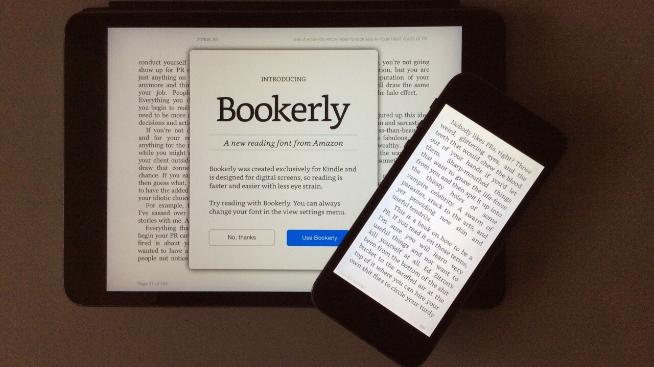 Amazon's custom e-reading font Bookerly has come to Kindle for iOS