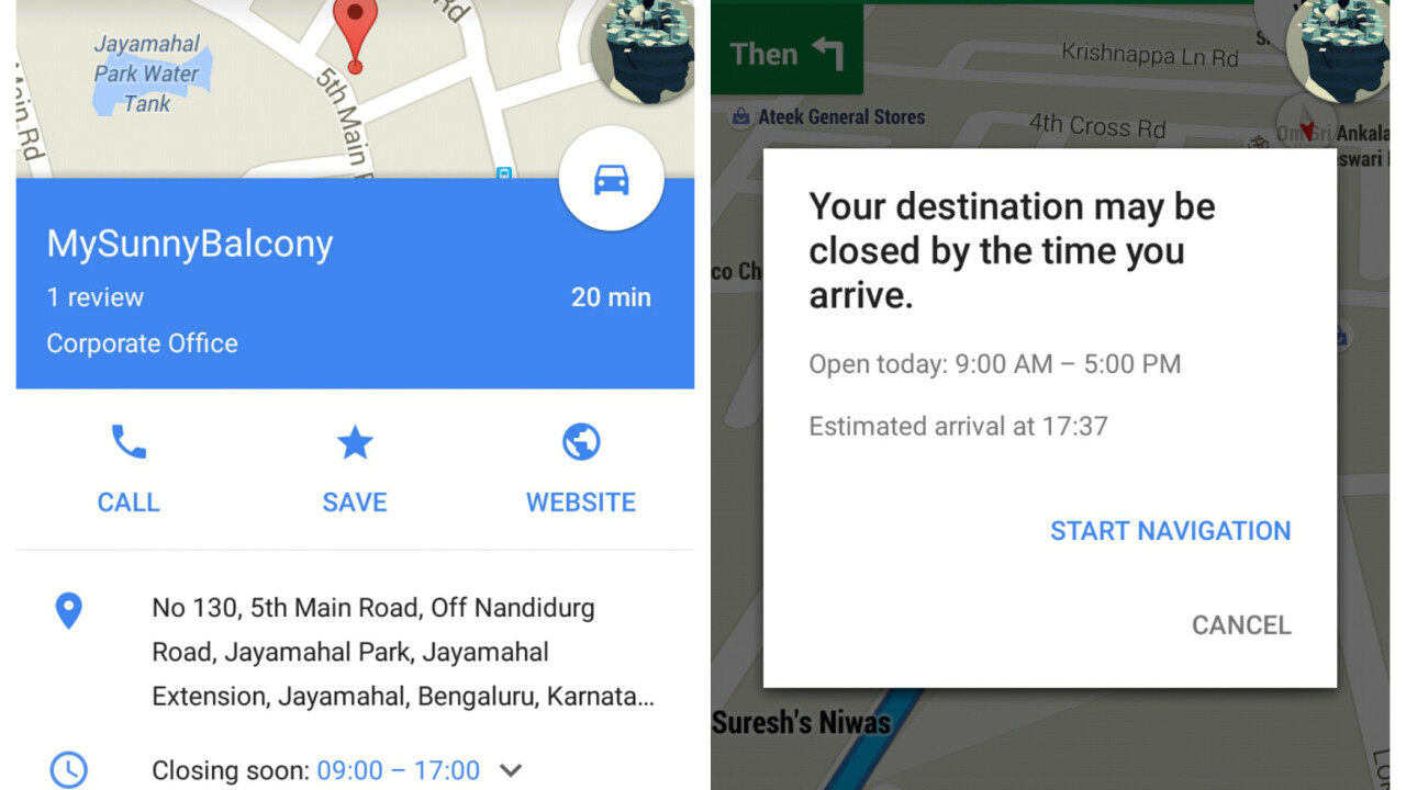 Google Maps latest update warns you if your destination will be closed by the time you arrive