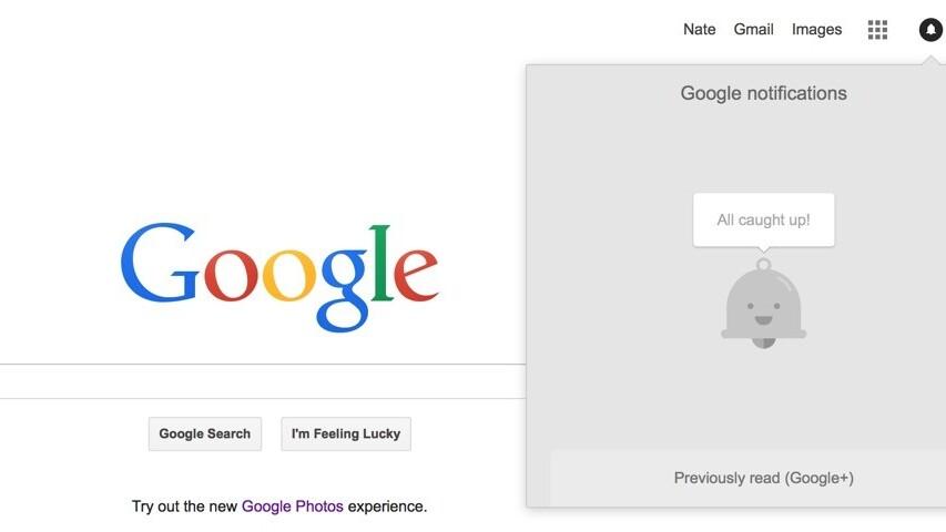 Google's notification menu no longer has Google+ branding