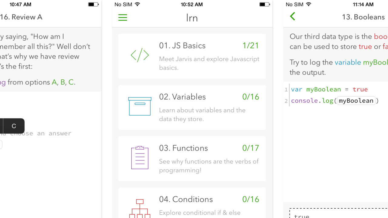 Lrn for iOS is the app that will get you learning to code