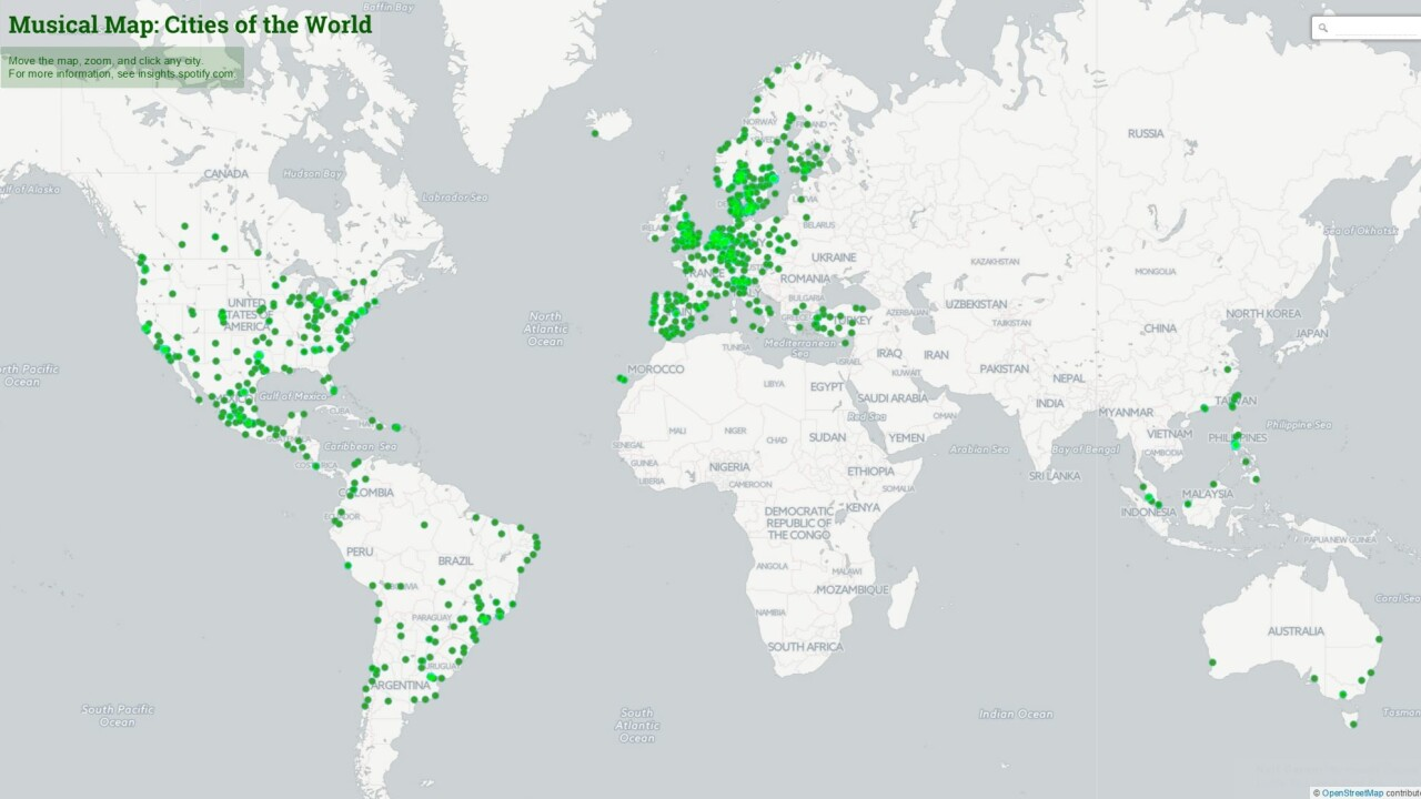 Spotify's Music Map lets you listen to local tastes from around the world