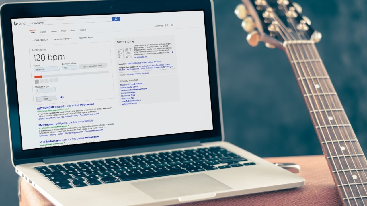 Bing can now help you tune your guitar and keep a beat
