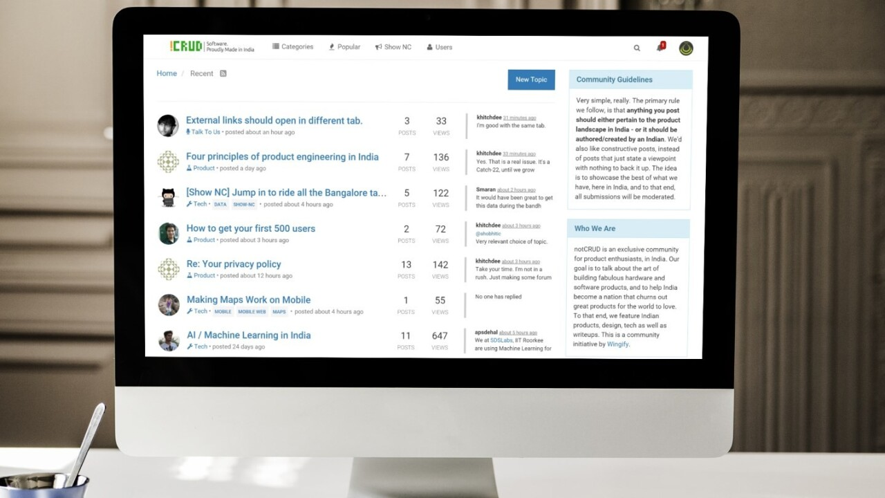 NotCRUD is a Hacker News-inspired community for developers in India
