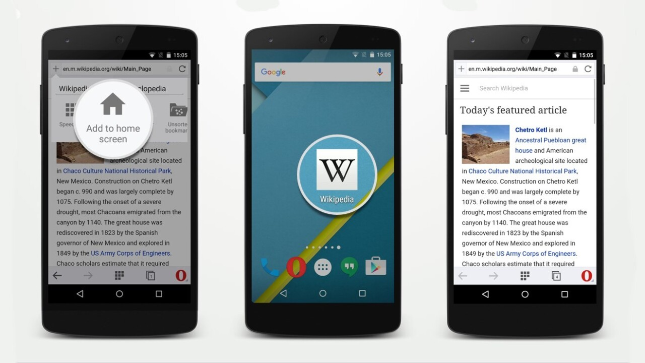 Opera for Android now lets you add sites to your home screen