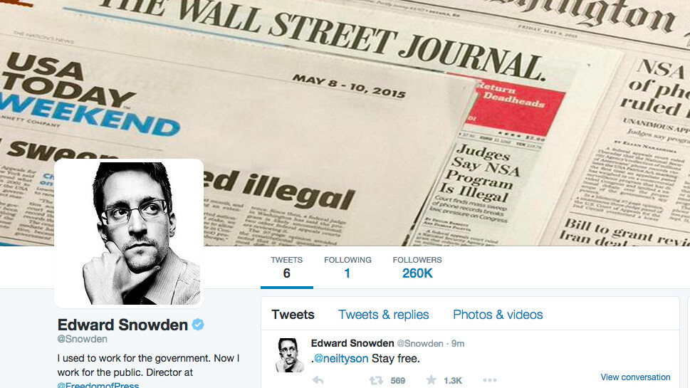 Edward Snowden joins Twitter and immediately throws shade at the NSA