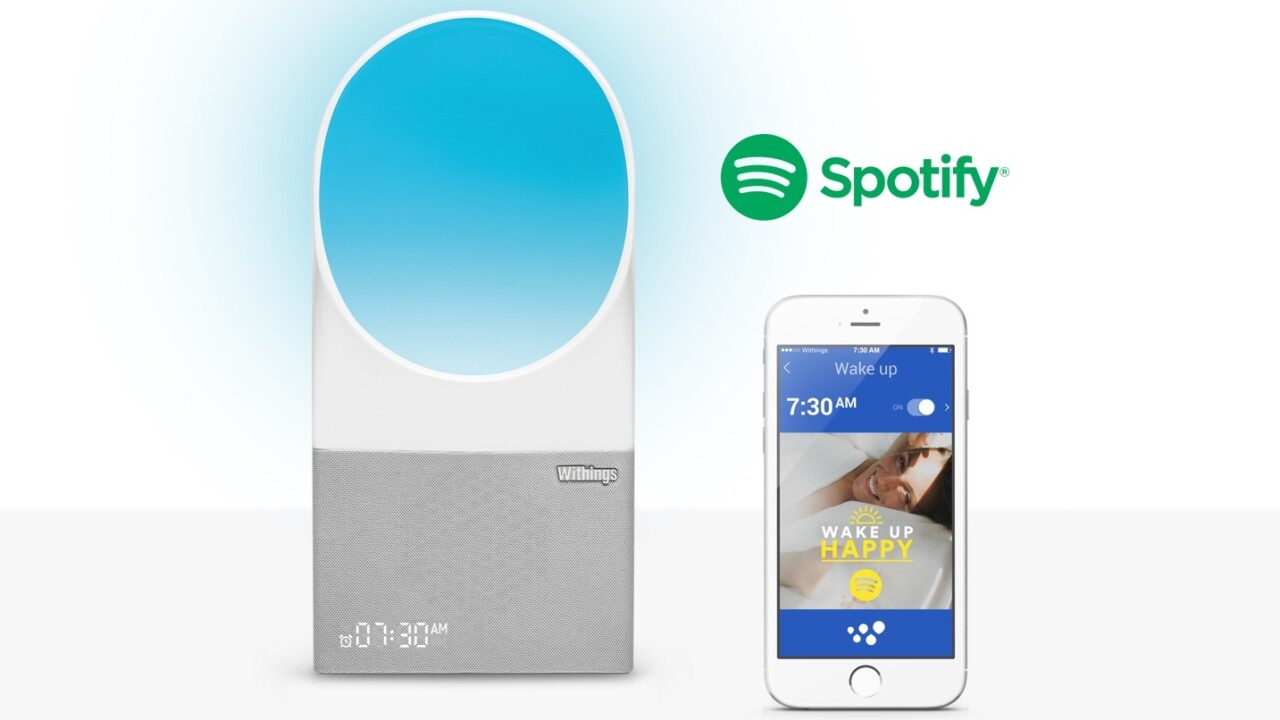 Withings' alarm clock helps you sleep and wake with the help of light, sound and Spotify