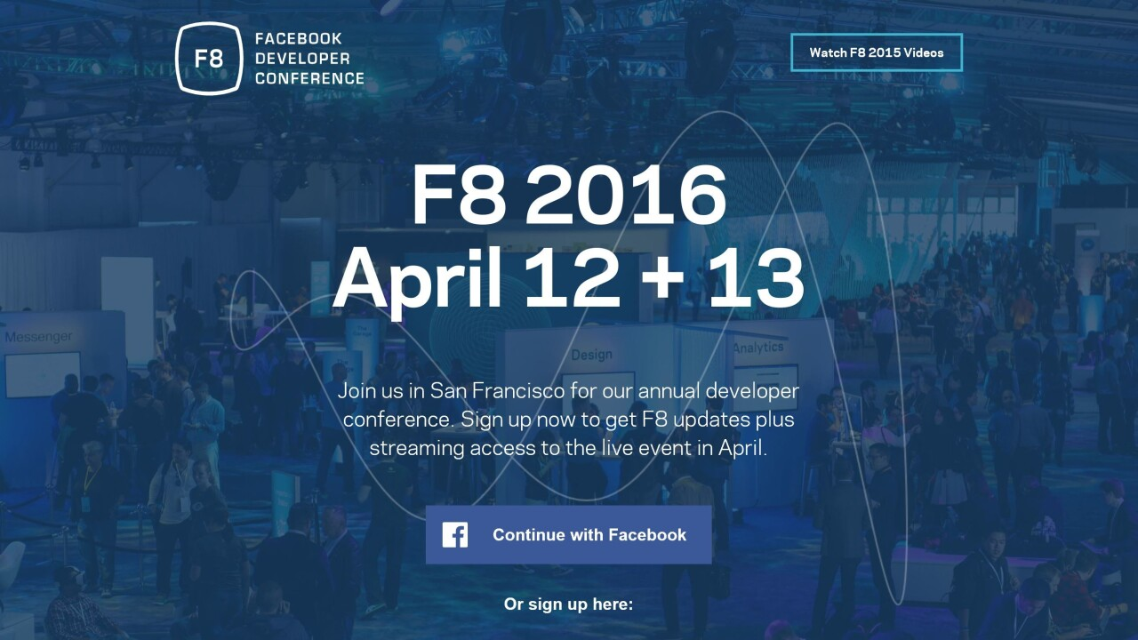 Facebook announces next F8 developer conference will be held on April 12 -13