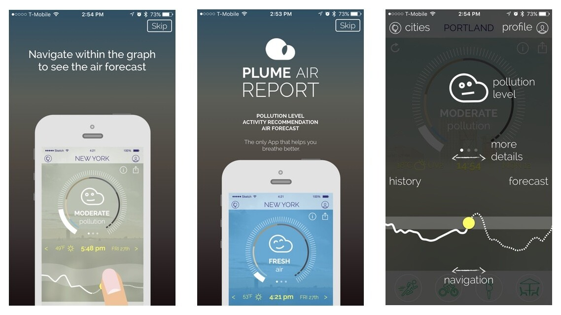 Plume for iOS and Android reports air quality and tells you how long you can stay outside