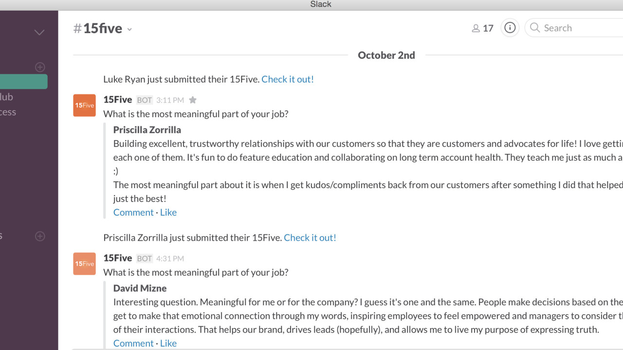 15Five now works with Slack so managers can seek feedback from employees