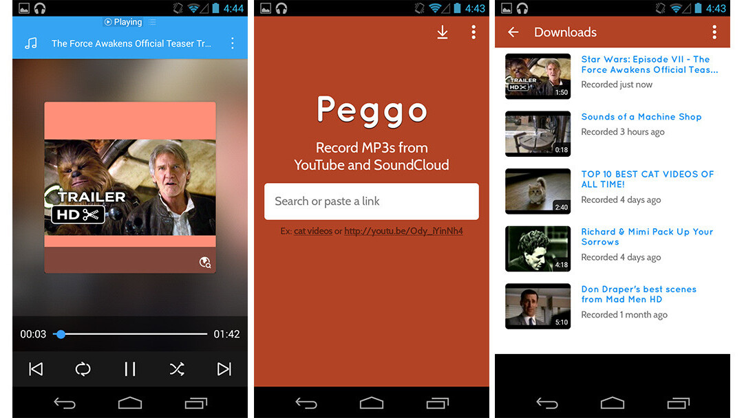 Peggo YouTube-to-MP3 recorder is now available on Android