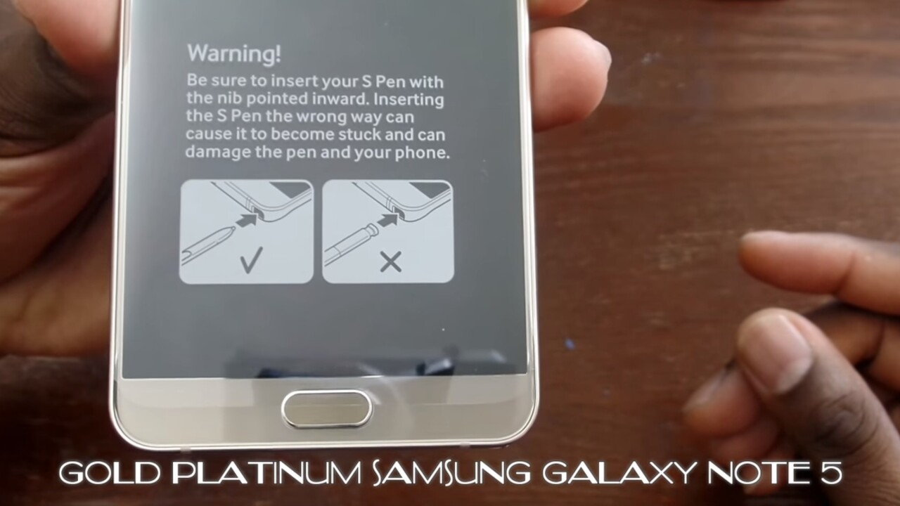Samsung's Note 5 now comes with a warning about inserting the S Pen backwards